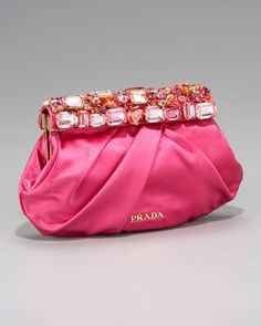 Raso Stones Clutch, Fuchsia by Prada at Neiman Marcus.  Diese und weitere Taschen auf www.designertaschen-shops.de entdecken