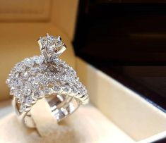 2.86ct Diamond Solitaire W/ Accents Engagement Bridal Ring Set 14K White Gold Fn #Beijojewels #Engagement