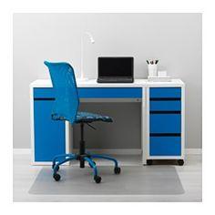 MICKE Bureau - blanc/bleu - IKEA