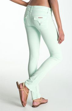 Hudson Skinny Stretch Jeans in Mint.  Must have.