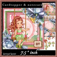 Cardtopper Girl on a swing 544 on Craftsuprint - View Now!