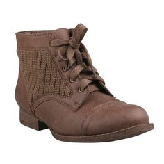 REFRESH LIBBY-09 Women's Round Toe Sweater Knit Lace Up Low Heel Ankle Bootie, Color:TAUPE, Size:10