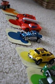 learning colors for boys **Loving this idea for H since he's really getting into cars lately!