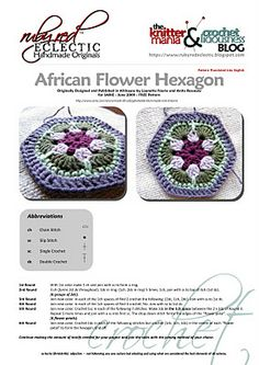 African Flower Hexagon Crochet - Tutorial ❥ 4U // hf