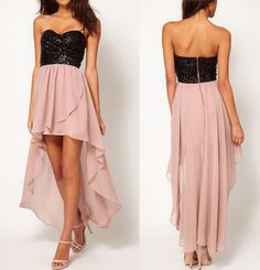 TFNC Dress with Sequin Bandeau and Hi Lo Skirt at ASOS