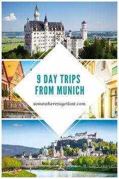 Here are 9 of the best day trips from Munich. #munich #germany #bavaria #daytrips #germanydaytrips #salzburg #regensburg #nuremberg #neuschwansteincastle #rothenburg Europe Travel Tips, European Travel, Weekend Trips, Day Trips, Linderhof Palace, Sleeping Beauty Castle, Camping Set, Neuschwanstein Castle, Cruise Destinations