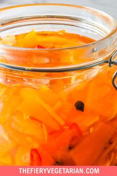 This spicy pumpkin refrigerator pickle comes together in just under 30 minutes to delight your tastebuds with its tangy spicy quick pickled pumpkin goodness! One of the easiest pumpkin recipes you'll ever make this fall, gluten-free savory spicy goodness you won't believe is made with fresh pumpkin, is low-calorie and contains NO oil. Have it today and customize to your tastes, with ginger as a great side to coconut rice and Asian dishes, or without to pair with creamy cheeses. Spicy Vegetarian Recipes, Vegetarian Side Dishes, Vegetarian Appetizers, Vegan Main Dishes, Vegan Dinner Recipes, Vegan Recipes Easy, Vegan Pumpkin Bread, Coconut Rice, Pumpkin Recipes