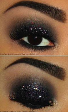 fashion, make-up, eyes, eyeshadow, black, glitter