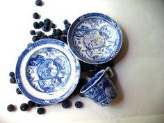 Antique Flow Blue 3pc Childs Tea Set-1880 by GentlemanlyPursuits