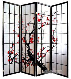 Asiatische Trennwand paravent jaipur bois 200x182cm décor feuille de vigne meuble indien
