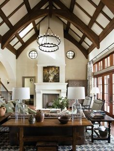 Image result for vaulted great room with beams