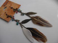 MUDD Boho Chic Earrings Turquoise-Dyed Howlite Feather Long Dangle