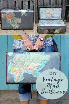 How to upcycle an old suitcase with maps inside and out to greate a stunning piece of luggage or some cute storage for you home.  #vintagesuitcase.