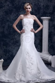 Gorgeous Strapless Taffeta and Lace Mermaid Wedding Dress With Chapel Train 891309a6efcc