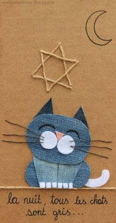 58 ideas craft projects sewing fabrics for 2019 Jean Crafts, Denim Crafts, Artisanats Denim, Craft Projects, Sewing Projects, Baby Accessoires, Cat Quilt, Denim Ideas, Recycle Jeans