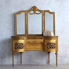 Stunning Classic Louis XVI Style Vintage Vanity Desk with Trifold Mirror