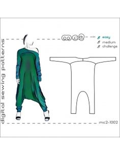 Harem-Style Jumpsuit with Yoke & Extended (exaggerated) Lengths of Sleeves & Pants/ street style Sewing Paterns, Sewing Patterns Girls, Sewing Ideas, Clothing Templates, Clothing Patterns, Shirt Patterns, Jumpsuit Pattern, Harem Pants Pattern, Doll Dress Patterns