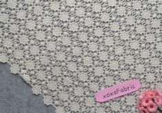 lace  fabric  ecru cotton lace hollowed embroidery  by xoxoFabric, $24.00