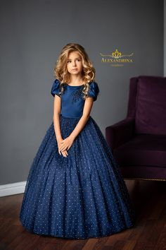 Flower girl, evening and wedding dresses by Alexandrina first communion and party dresses. Blue Dresses For Kids, Cute Blue Dresses, Girls Formal Dresses, Girls Party Dress, Event Dresses, Little Girl Dresses, Baby Dress, Flower Girl Dresses, Toddler Boy Outfits
