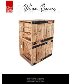 Kram Designs Decor Hardware was used to transform these old wine boxes. Wine Boxes, Hardware, Antiques, Storage, Studs, Furniture, Fashion Design, Home Decor, Ideas