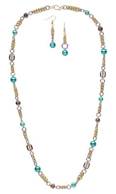 Single-Strand Necklace and Earring Set with Hemalyke™ Pearl Beads, Copper-Plated Glass Beads and Aluminum Chain