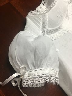 All-White Swiss Voile Gown & Slip Gown features Hand Embroidery, Shaped Lace Insertion, Pintucks, a Scalloped Hemline with French Lace & Tatting. Christening Outfit, Baptism Dress, Christening Gowns, Little Girl Dresses, Girls Dresses, Blessing Dress, Patron Vintage, Linens And Lace, Heirloom Sewing