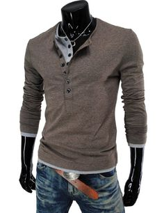 Amazon.com: TheLees (VT09) Mens Casual Long Sleeve Layered Style Button Tshirts: Clothing Not the pants