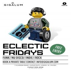 Eclectic Fridays at Gigalum, 7/8 Cavendish Parade, London, SW4 9DW, UK on Oct 23, 2015 to Oct 24, 2015 at 5:00pm to 1:00am.  DJs on the line up tonight Hilton Caswell & Ben Yong.  With a Function One sound system, large outdoor area overlooking Clapham common and mouth watering food and drink selection Electric Fridays guarantees to deliver.  Category: Nightlife,  Price: Free