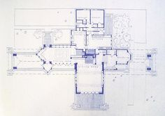 Frank Lloyd Wright - Willits House Blueprint by BlueprintPlace on Etsy