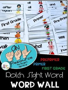 THIS PRODUCT IS PART OF A BUNDLE Click here to see the bundle.  ASL DOLCH WORD WALL BUNDLE  These American Sign Language Word Wall cards are the perfect addition to the classroom.  Make both ENGLISH and ASL easily ACCESSIBLE for your students! Display these on your word wall, use them as flash cards, do both!