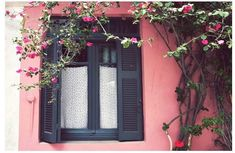 Using photography to convey certain stories, moods and feelings, Lupen Grainne presents breathtaking and luminous images that have an irresistibly dreamy quality. This image of a charming house with wooden shutters surrounded by bougainvillea was … Window Design, Door Design, Pottery Barn Black, Greece Photography, Art Photography, Charming House, Wooden Shutters, Window Art, Window Ideas
