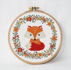 Fox cross stitch pattern baby Nursery decor wreath flowers cross stitch Animals Woodland unique baby gift needlecraft Instant Download