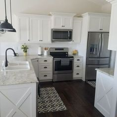 White kitchen Subway tile wood floors Farmhouse Fixer upper target rugs