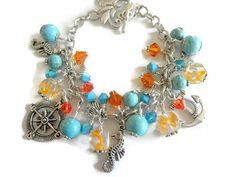 Turquoise  Charm Bracelet Beach Jewelry Ocean by TreasuresofJewels @jnldesigns