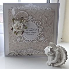 Debbie Stevens card using Spellbinders and Marianne dies Quilling Paper Craft, Quilling Cards, Card Making Inspiration, Making Ideas, Card Tags, I Card, Shabby Chic Cards, Spellbinders Cards, Scrapbook Cards