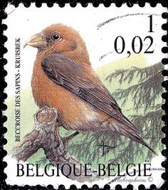 Belgium.   BEVVROISE DES SAPINS.  BIRD TYPE OF 1975.  EURO DENOMINATED. Scott 1785 A524, Issued 2000 May 8,  Perf. 11 1/2,  .1.02 /ldb.