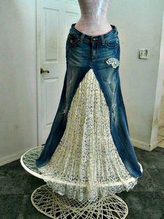 Vintage lace bohemian ballroom jean skirt Renaissance Denim Couture fairy goddess distressed fleur d Renaissance, Sewing Clothes, Clothes Crafts, Couture Skirts, Denim Wedding, Denim And Lace, Blue Denim, Recycled Denim, Recycled Fashion