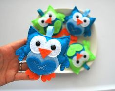 4 baby owl plush in lime green and turqouise, owl party favors, owl Christmas Ornaments A403