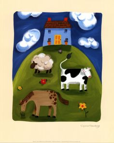 Blue Farmhouse Print by Sophie Harding at Art.com