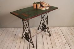Antique Reclaimed Sewing Table Distressed Green Teak Wood Side Table Desk Bathroom Vanity Sofa Table Plant Stand $424