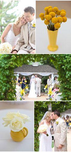 yellow and navy blue wedding-- yep, totally love her dress!