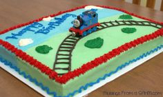 Cake Decorating - Thomas the Tank Engine Birthday Cake - Musings From a Stay At Home Mom