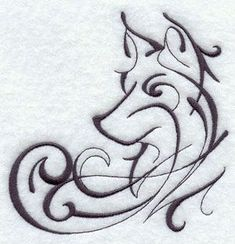 """Cool Wolf Tattoo idea from an embroidery pattern ---  ooo...with """"Winter is Coming""""? #WolfTattooIdeas"""