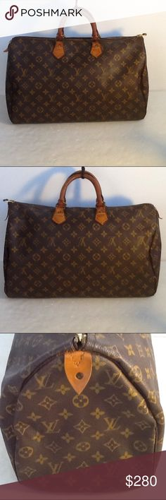 Authentic Louis Vuitton Speedy 40 Monogram Satchel The 2 leather piece to hold a lock and key were replaced. Sone ink stains are inside the bag and the bottom. The 4 inside leather piece to hold the handles had sone cracking but still functioning. No inside pocket and the date code as the bag was made before 1980. The dimension is 16, 8 and 9.5. Louis Vuitton Bags Satchels