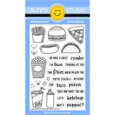 This fun set comes with all your favorite guilty pleasures including 8 food images and 7 coordinating punny sentiments. Also comes with 4 separate happy faces to increase the versatility of the images. Check out our matching Fast Food Fun Dies for additional design possibilities. Made in USA.