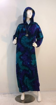 Size XL tie dyed hoodie sweatshirt dress lounger robe in bamboo/cotton/spandex fleece. by qualicumclothworks on Etsy