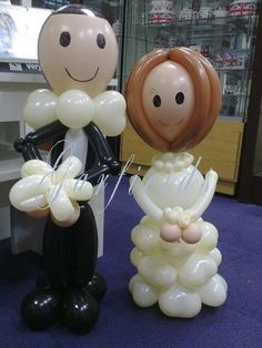 Tabletop Bride and Groom Balloon Characters