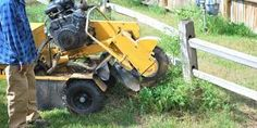 A stump grinder or stump cutter is a power tool or equipment attachment that removes tree stumps by means of a rotating cutting disk that chips away the wood.  http://bradstreesandlawns.com.au/
