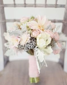 Gorgeous pastel bouquet in soft pinks, pale pastel creams and greys.