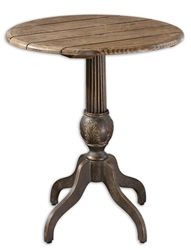 Sweet bronze table with a natural grey tone and wooden planks. Add this round table to your accent collections.